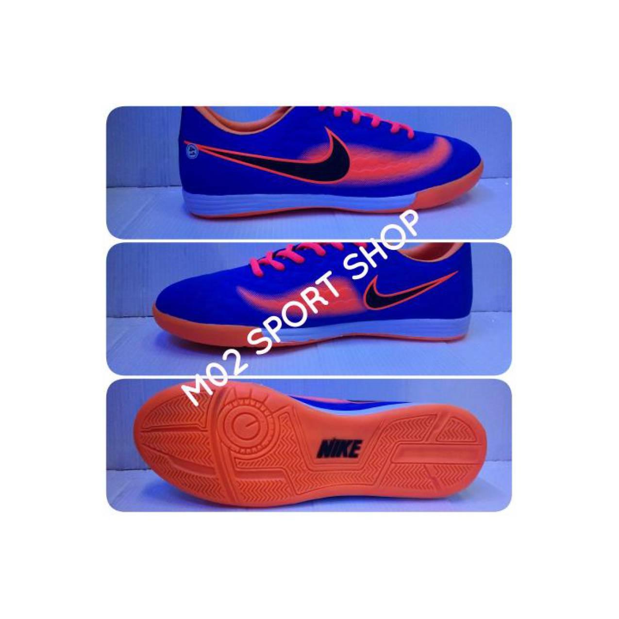 Sepatu futsal nike magista biru kombinasi orange list hitam sol karet