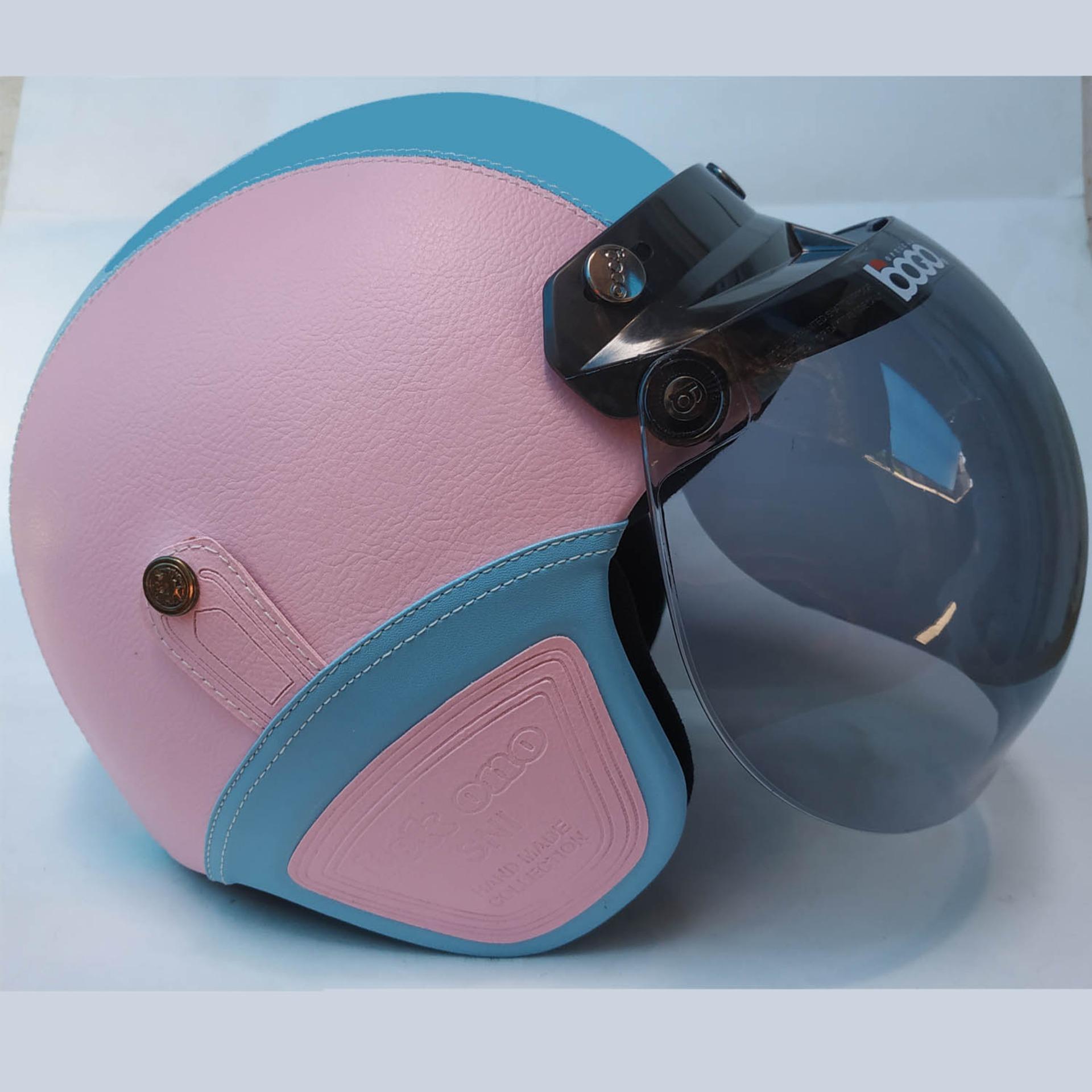 Helm Retro Kacamata Klasik Full Synthetic Leather - Ungu Fanta