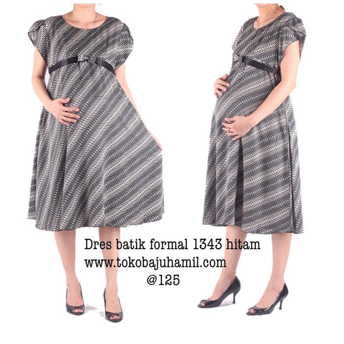 Dress Hamil Batik 1343 Hitam  / Mama Hamil / Dress Hamil / Kemeja Hamil / Ibu Hamil Menyusui / Baju Hamil Kantor/ Baju Hamil Gaya / Baju Hamil Modern