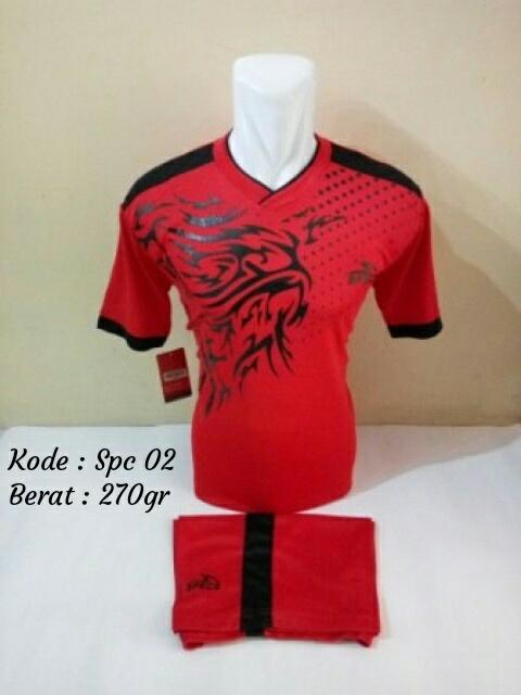 Baju kaos jersey bola setelan futsal bola/volly Specs 02 Merah