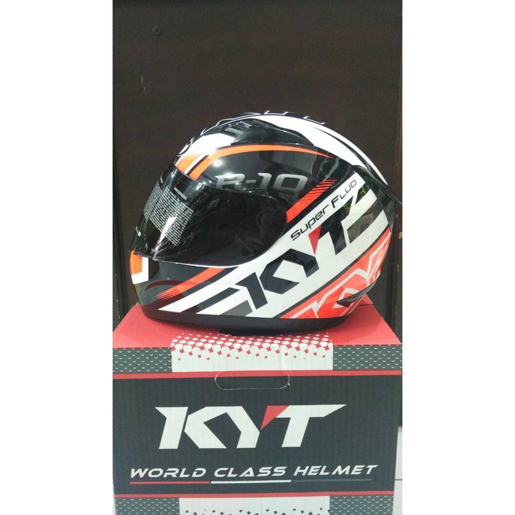 Helm KYT R10 White Orange Fluo Fullface Super Flou 10 Motif