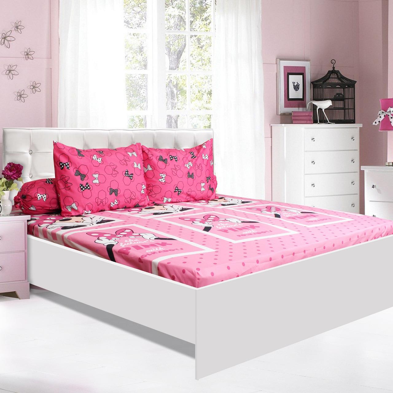 Sprei CALIFORNIA Motif DISNEY MINNIE PINK MINIE King Size 180 x 200 cm
