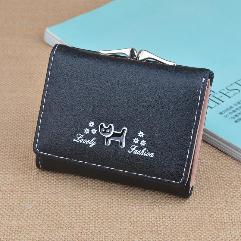 Traresey Korea Fashion Style siswa ritsleting dompet wanita pendek ayat wallet Abu abu