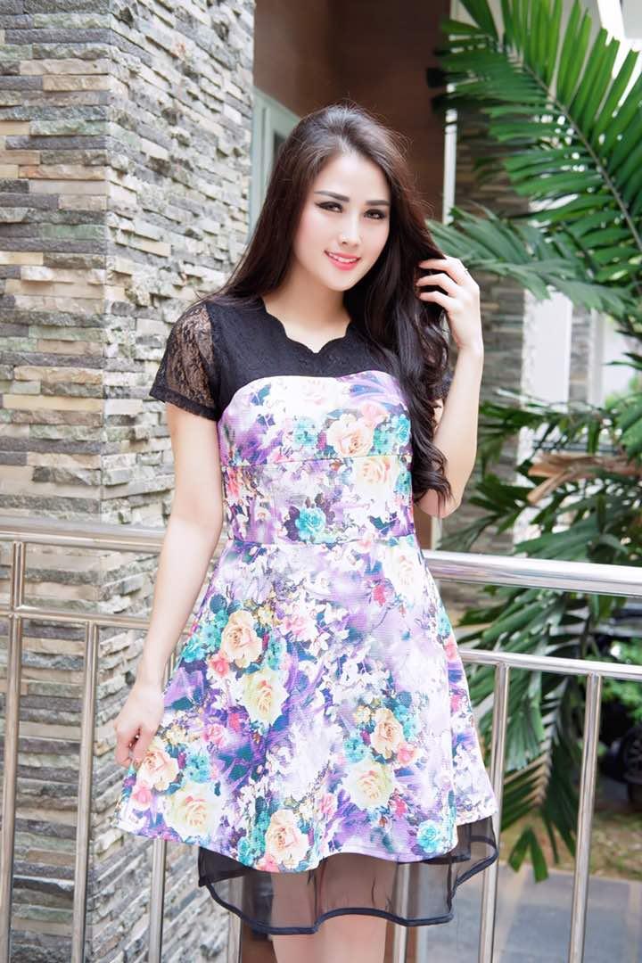 Dress Fashion Wedges Brukat Yulie Ungu