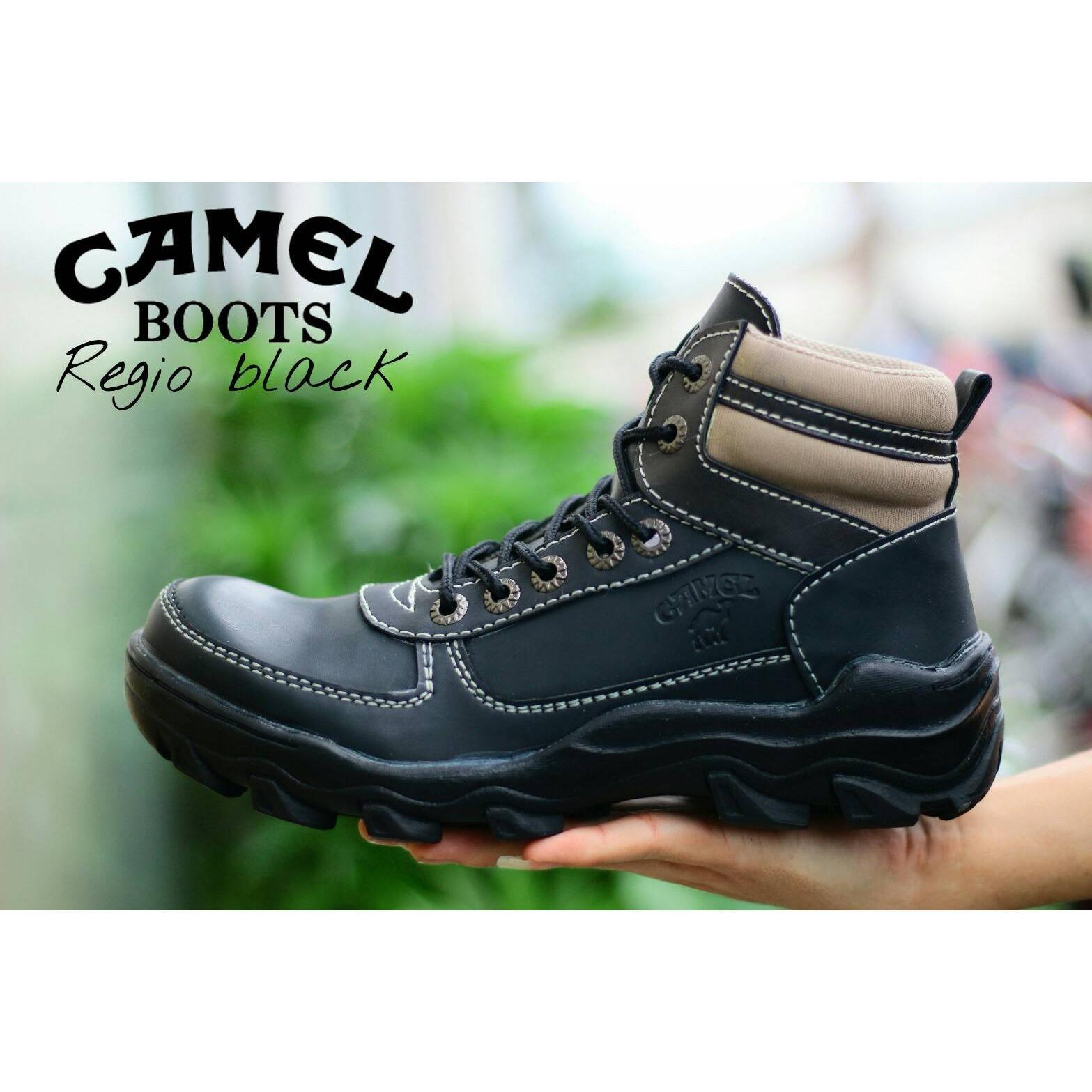 CAMEL - Sepatu Boots Pria Keren Sepatu CAMEL Safety KULIT &  CANVAS Sepatu gunung haiking (CAMEL LOKAL)
