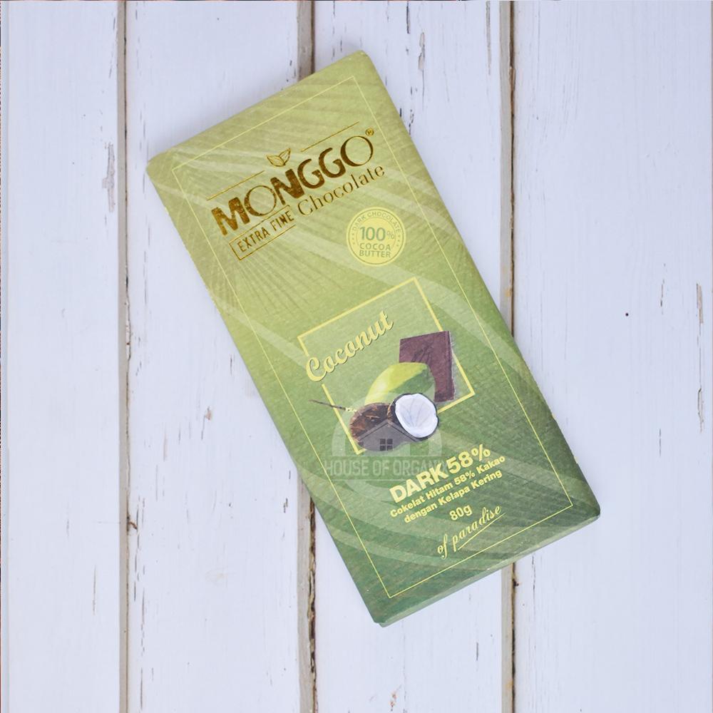 Monggo Dark Chocolate 58% Coconut 80 Gr