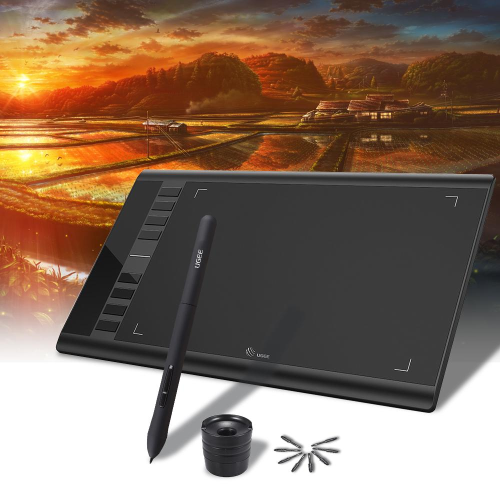 Ugee M708 Upgraded Graphics Drawing Tablet Board with Battery-free Passive Pen 8192 Pressure Sensitivity 266RPS 10 * 6inch for Windows Mac OS