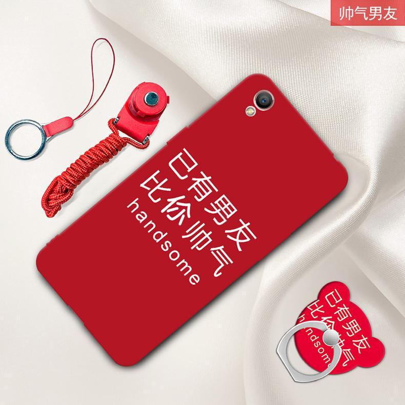 Oppoa37 Casing HP a37t Casing a37m casing silikon Baur warna merah Anti jatuh kreatif tali gantungan cincin perempuan