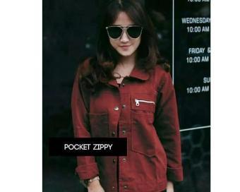 Harga preferensial Jaket Wanita Modis Pocket Zippy Polan Slevee Fashion  TERLARIS PROMO terbaik murah - Hanya 24af51fe7a