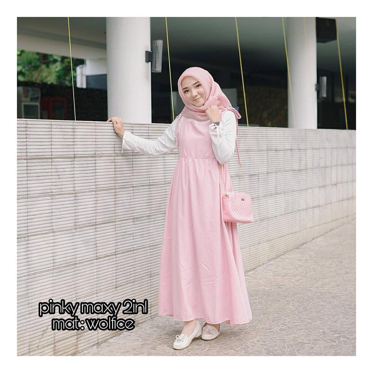 "Setelan& Jumpsuit ""ML PINKY MAXY 2IN1""  Baju Panjang Muslim Hijab Modern Pakaian Wanita Trand Terbaru Murah Fashionable"