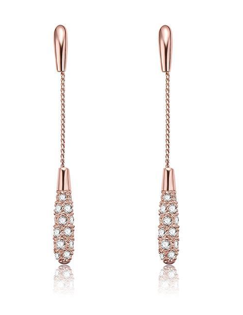 LRC Anting Tusuk Fashion Rose Gold Full Diamond Decorated Tassel Earrings