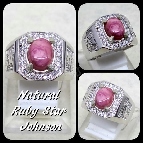 NEW PROMO Perhiasan Aksesoris CINCIN BATU AKIK PERMATA NATURAL RUBY STAR JOHNSHON RING ALPAKA SUPER Murah