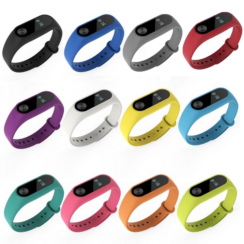12 Silikon Berwarna Strap Pergelangan Tangan Tali Jam Tangan Pintar Gelang untuk Xiao Mi Band 2 Tracker Pengganti Sabuk Jam Tangan-Intl