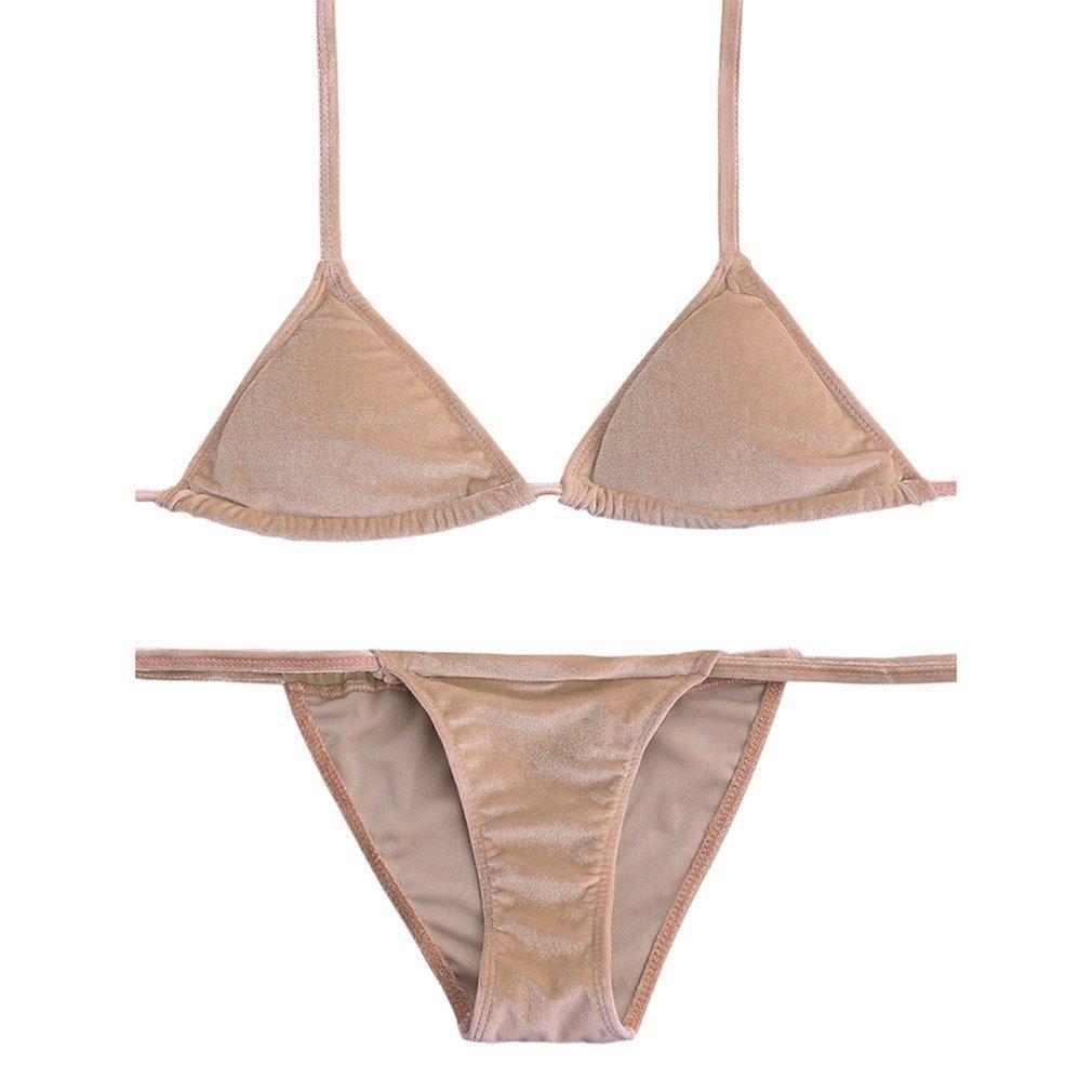 Chunnuan Dua Potong Kasual Warna Solid Baju Renang Seksi Bikini Halter Seksi Baju Mandi