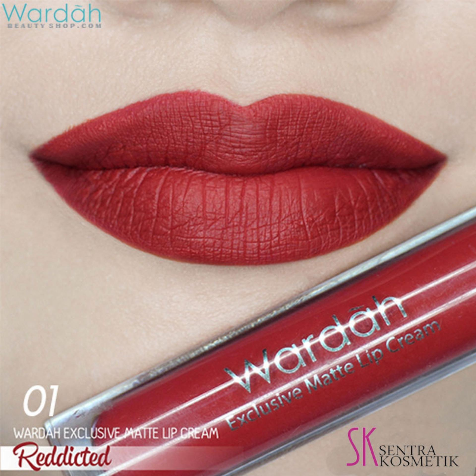 Lipstik Lip Cream Wardah Terbaik Exclusive Matte 4 G No 01 Red Dicted