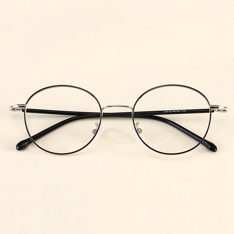Bingkai Kacamata Kecil Kerangka Bulat Bingkai Kacamata Retro Logam