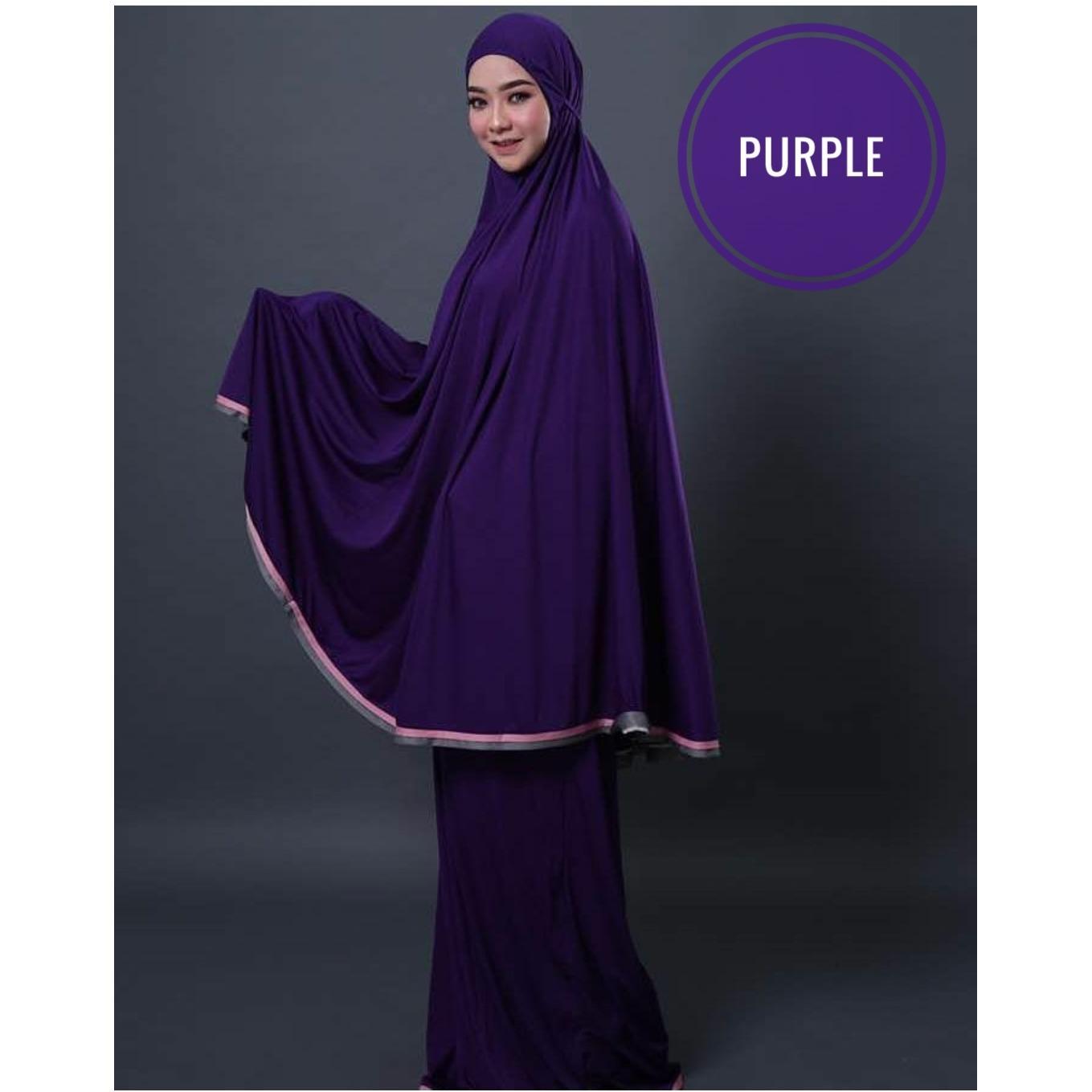 Telekung Impor - Mukena Polos - Cotton Viscose beralun Silky - Purple