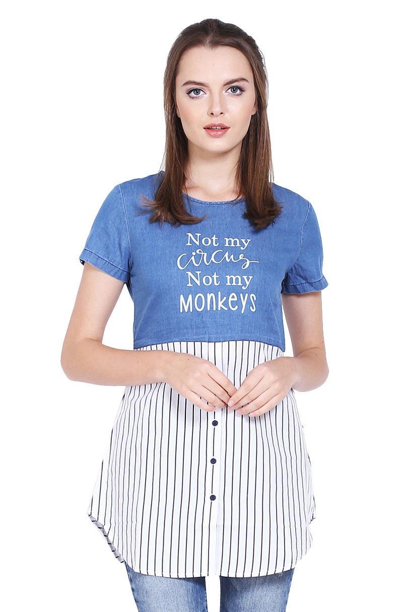 Cressida Pakaian Blouse dan Kemeja Wanita Ladies Combination T Shirt Navy