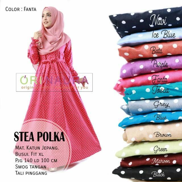 (TERBARU) Gamis Stea Polka Dress Ori Naura Longdress Maxi Katun Jepang (Bata)