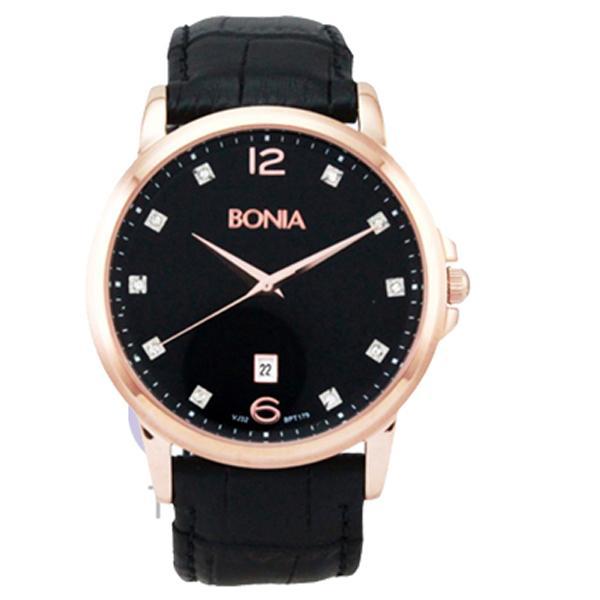 Bonia Jam Tangan Pria Bonia BPT179-1537 Rosegold Leather Black
