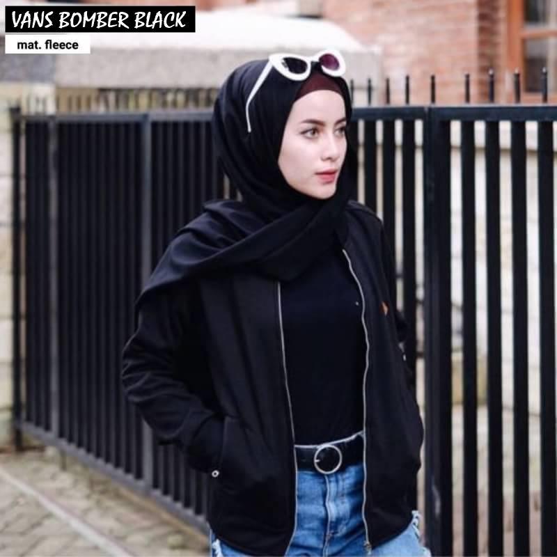 VANS BOMBER ||| loekita ||| grosir jaket sweater baju atasan blouse rajut hijab terbaru kekinian wanita murah