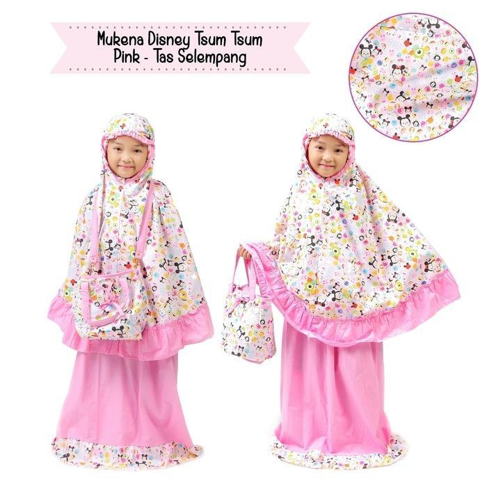 Mukena Anak Disney Tsum Pink Tas Selempang (size XS)