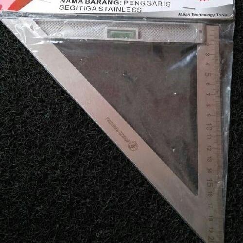 Penggaris Siku Segitiga Speed Square Stainless 200mm dengan Waterpass