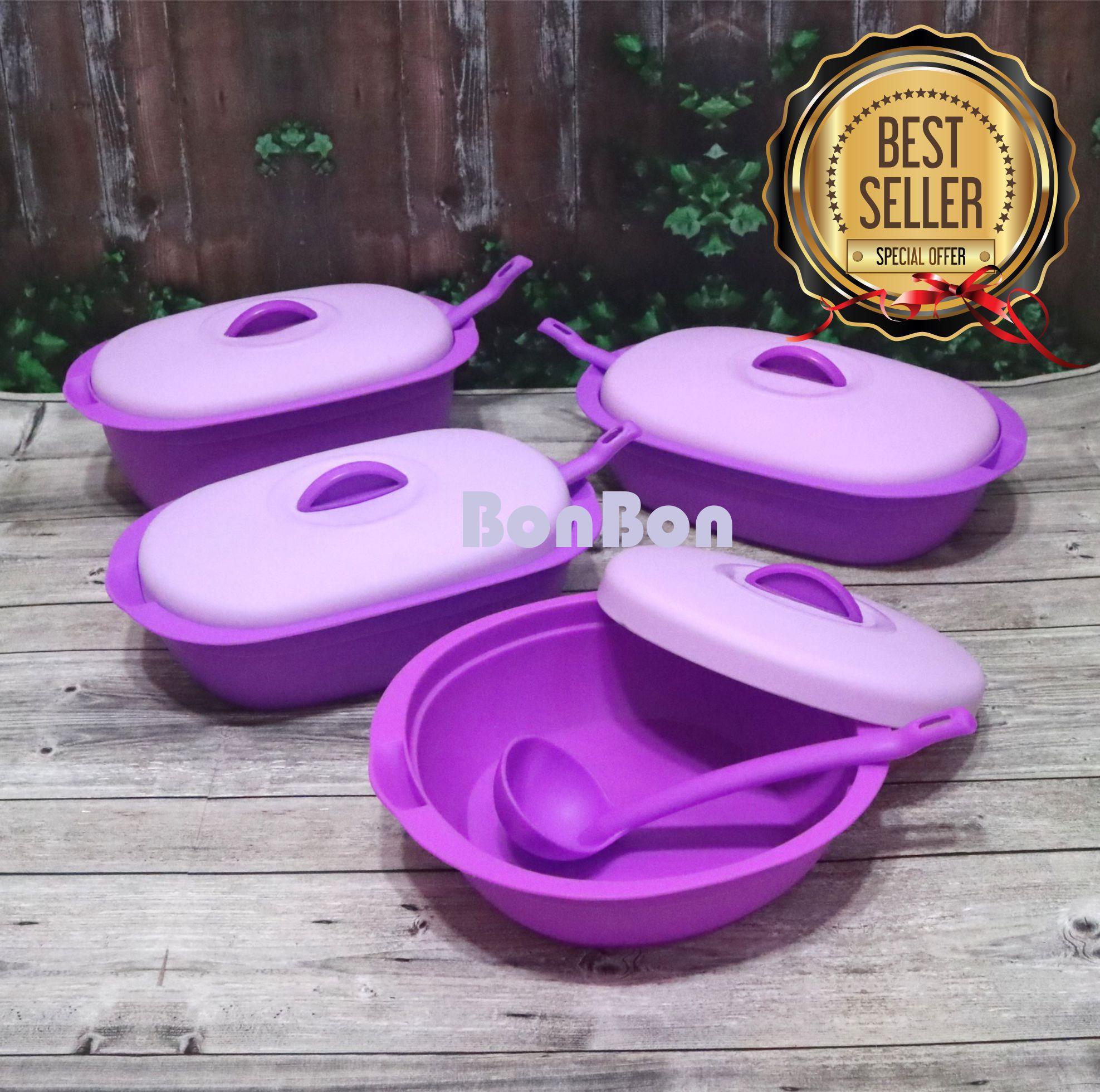 Alat Penyaji Makanan Termurah Plastik Wadah Cd Bonbon Saji Prasmanan Verona 4 Pcs Centong Ungu