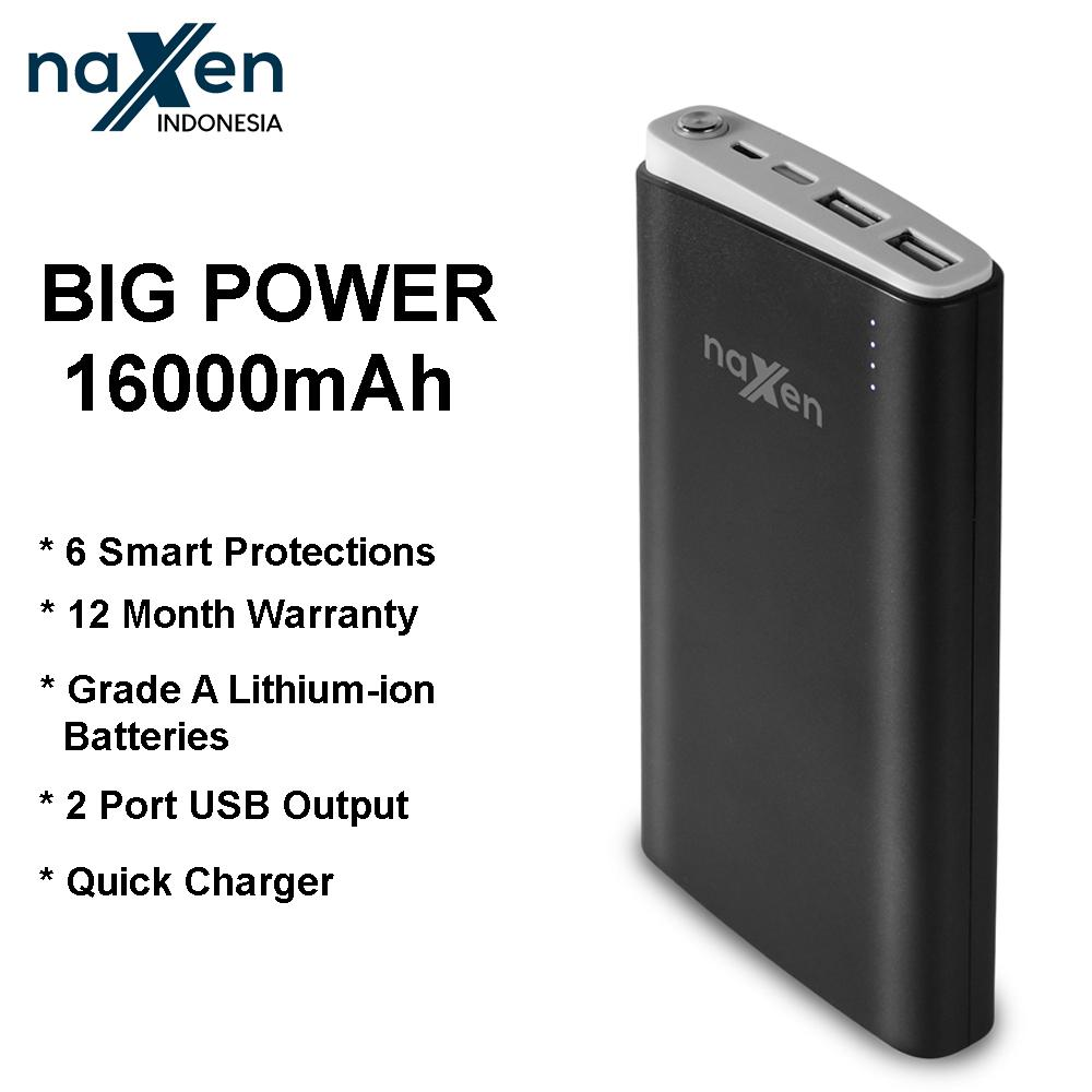 Naxen 16000mAh Fast Charging Power Bank Real Capacity Dual USB Portable External Battery Fast Mobile Powerbank for Xiaomi iPhone Samsung S9+ Oppo Vivo Phone FREE LIGHTNING + TYPE C CONNECTOR