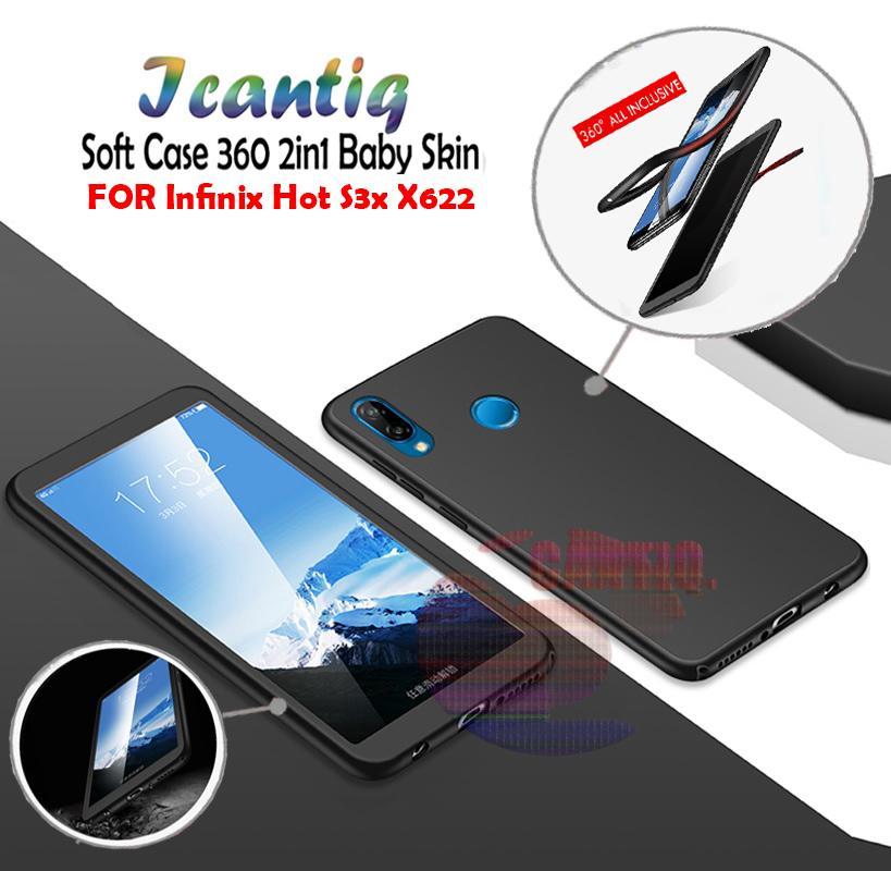 Icantiq Case Infinix Hot S3X X622 Premium Front Back 360 Degree Full Protection Softcase Infinix X622 (2in1) Baby Skin Infinix X622 Case Fullbody Depan Belakang Infinix X622 / Silikon Infinix Hot S3X X622 Case Infinix X622 - Hitam