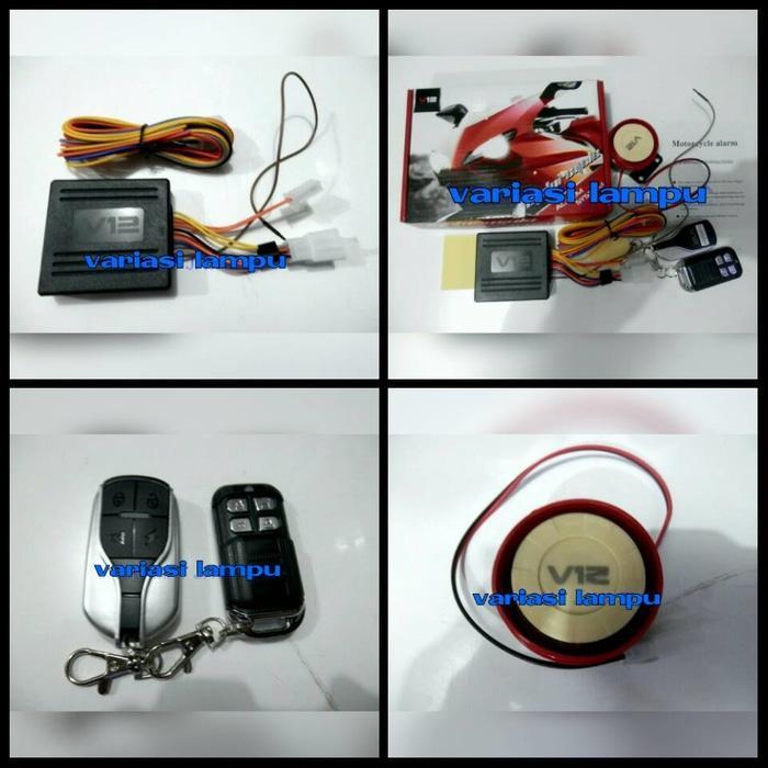 alarm motor v12 dengan starter 2 remote garansi | ( gembok alarm motor anti maling koper sepeda pagar cakram kinbar kode tas mobil clock rumah sensor gerak pintu digital remote lock bht ) |