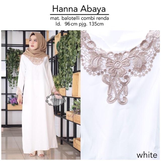 (TERBARU) NEW HANNA ABAYA Gamis Maxy Fashion Muslim Wanita Putih Bordir Panjang Maxi Murah Yosheviens Elsire (BLACK)