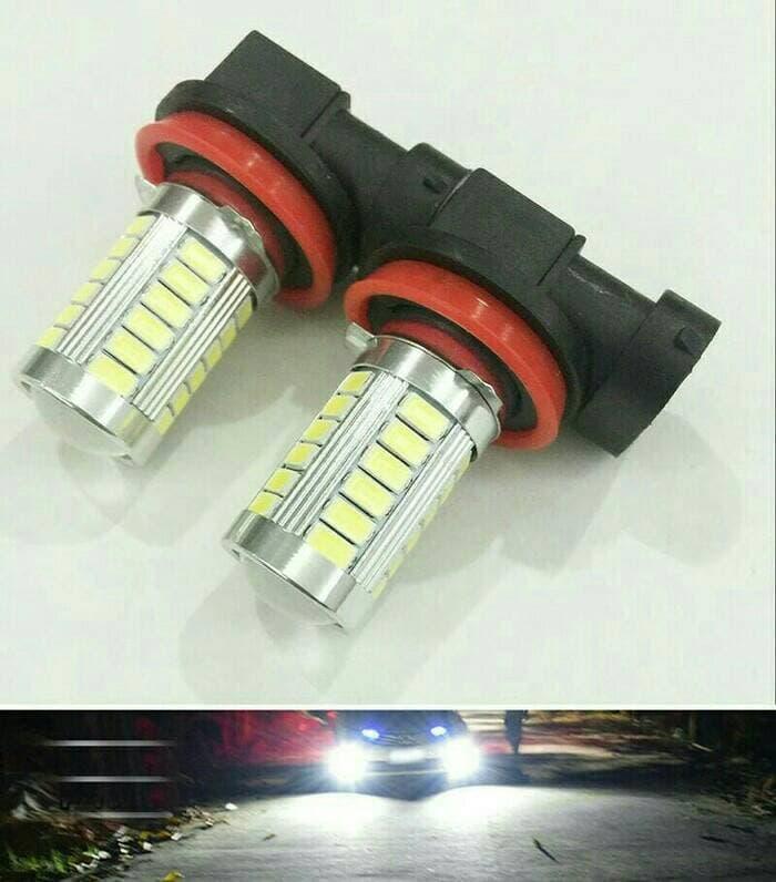 Bohlam Foglamp H11 - 16 WATT 5730 White | ( lampu  mobil hid plafon depan rem sorot led h4 kabut fog lamp tembak variasi strobo rem toyota innova hid avanza osram )
