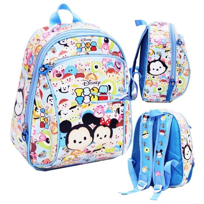 BGC Tas Ransel Sekolah Anak PG - TK Anti Air Tsum Tsum Bus Sekolah Biru Frozen Pony Hello Kitty BUNCIT ( Motif Pilihan )