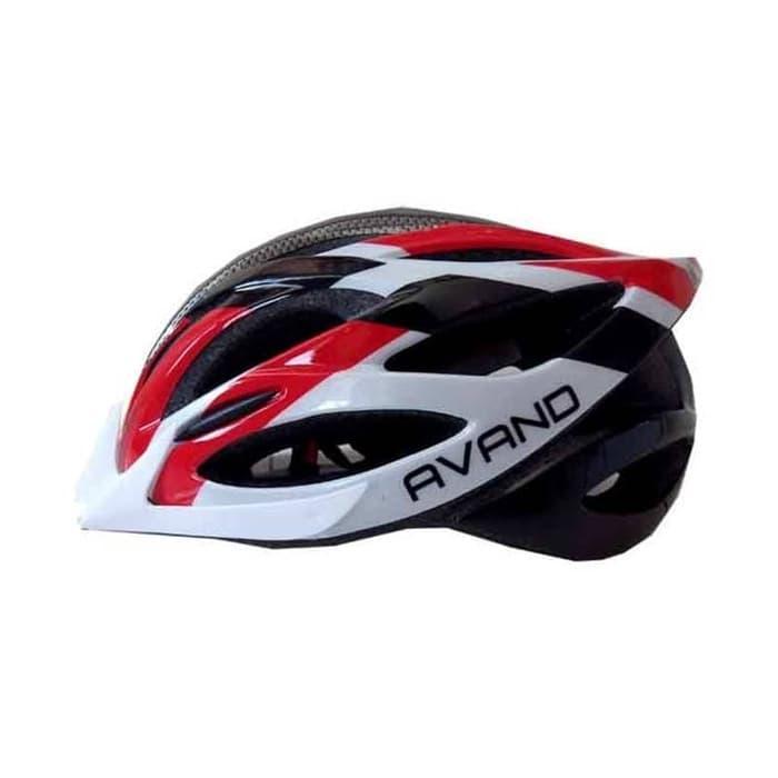 Helm Sepeda Avand Ada Lampu Belakang warna Merah Putih Hitam Tipe A 06