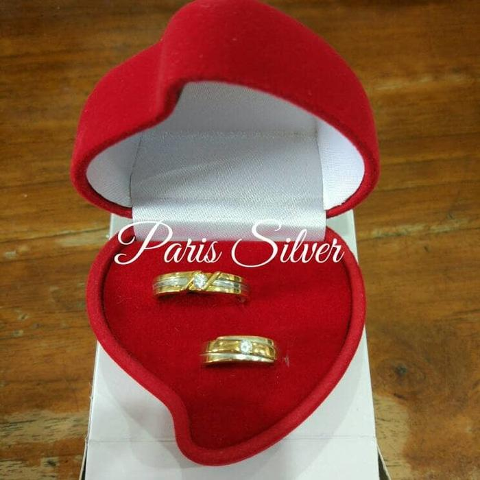 Sale -  kotak perhiasan emas kawin cincin lamaran love merah hati nikah box Import