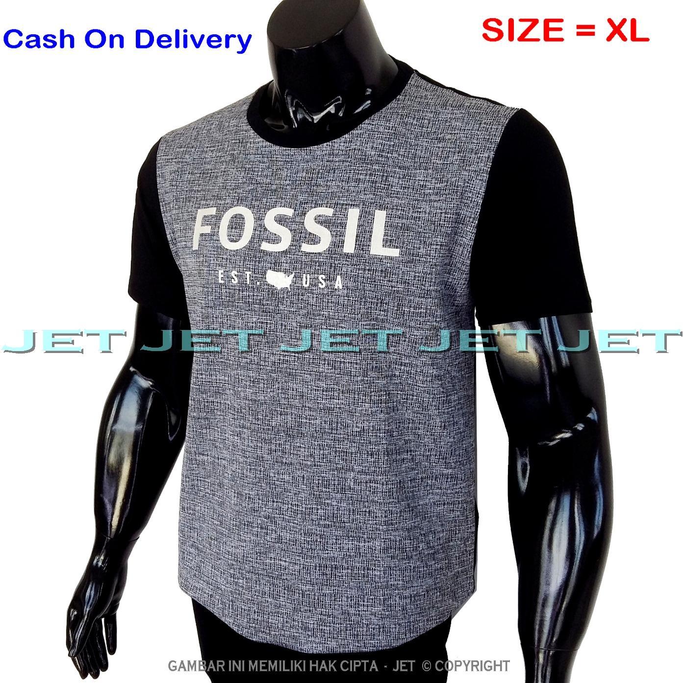 JeT - Kaos Distro FOSSIL Size XL Dewasa Lengan Pendek Soft Rayon Viscose Lycra Tidak Pasaran Sablon