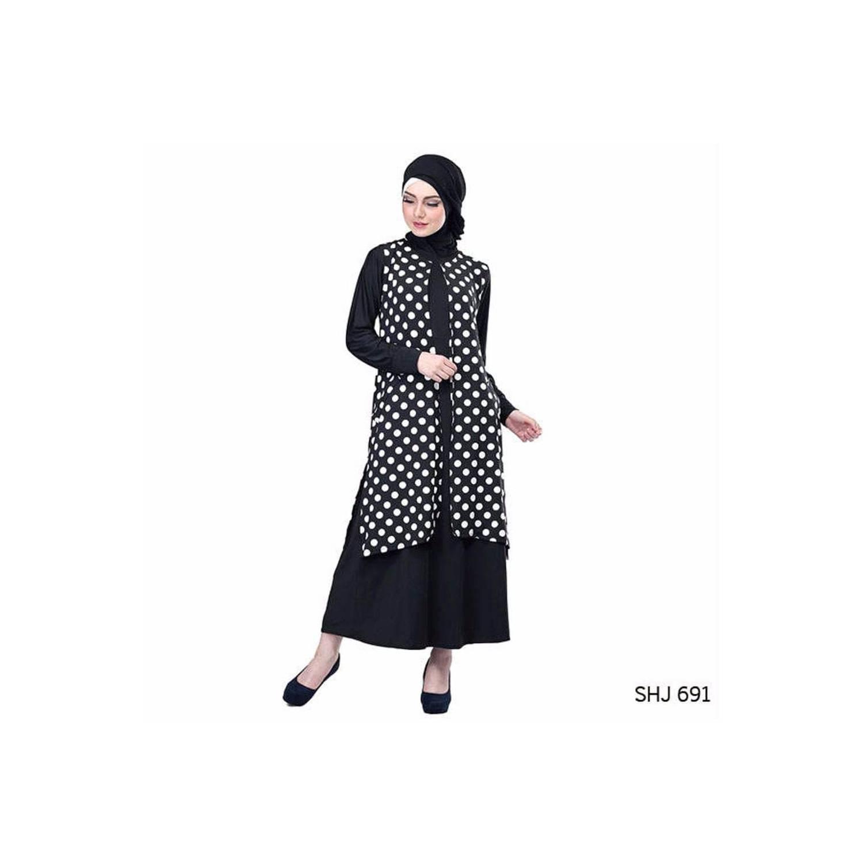 termurah Baju Muslim Wanita Bahan Jersey Polkadot Hitam Putih