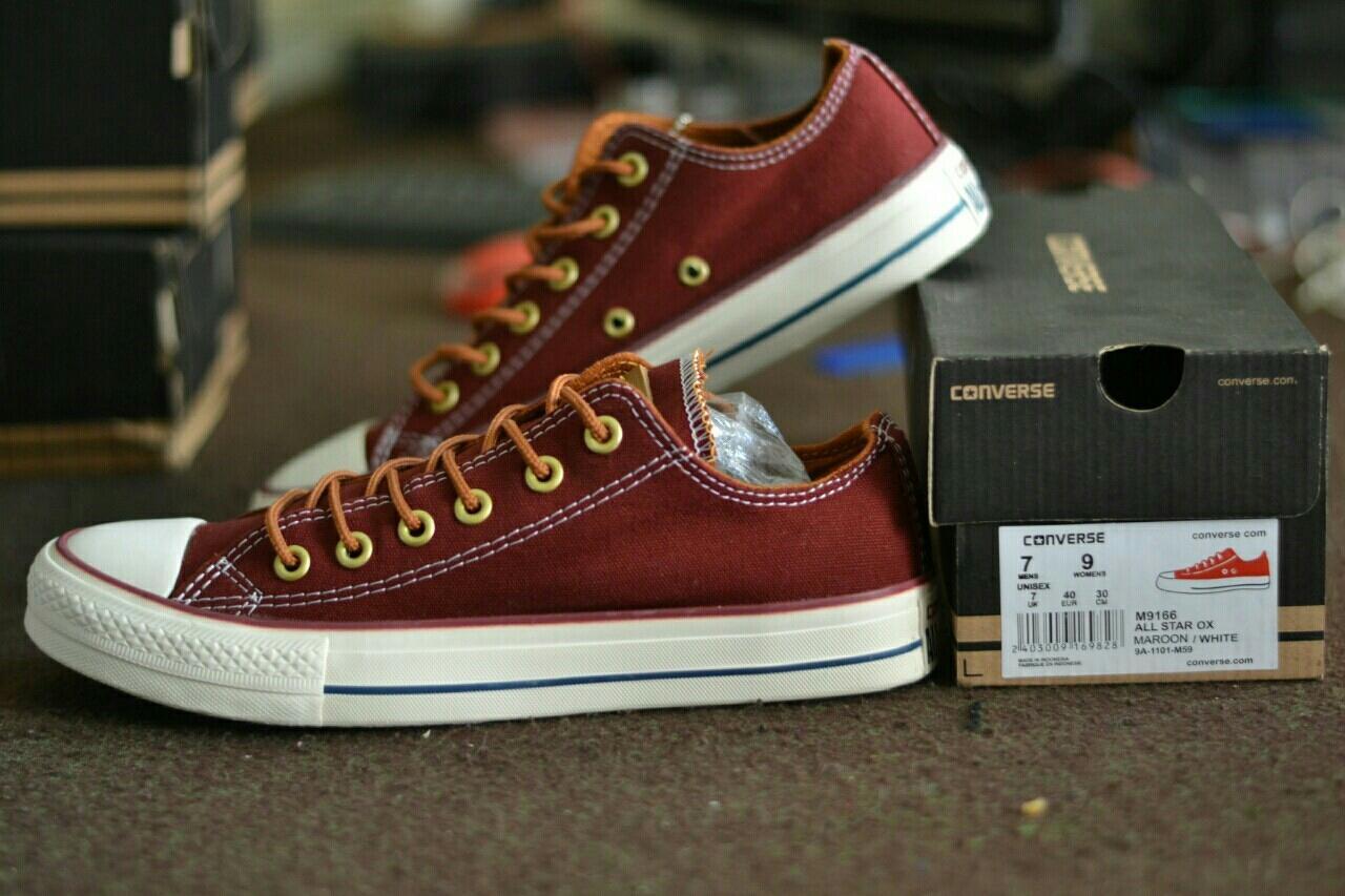 Sepatu Converse Pria All Star Tali Tan Casual Sneakers Sekolah Kuliah Gaya Kekinian Slip On Slop Loafers Boots Formal Kerja Kantor Marun