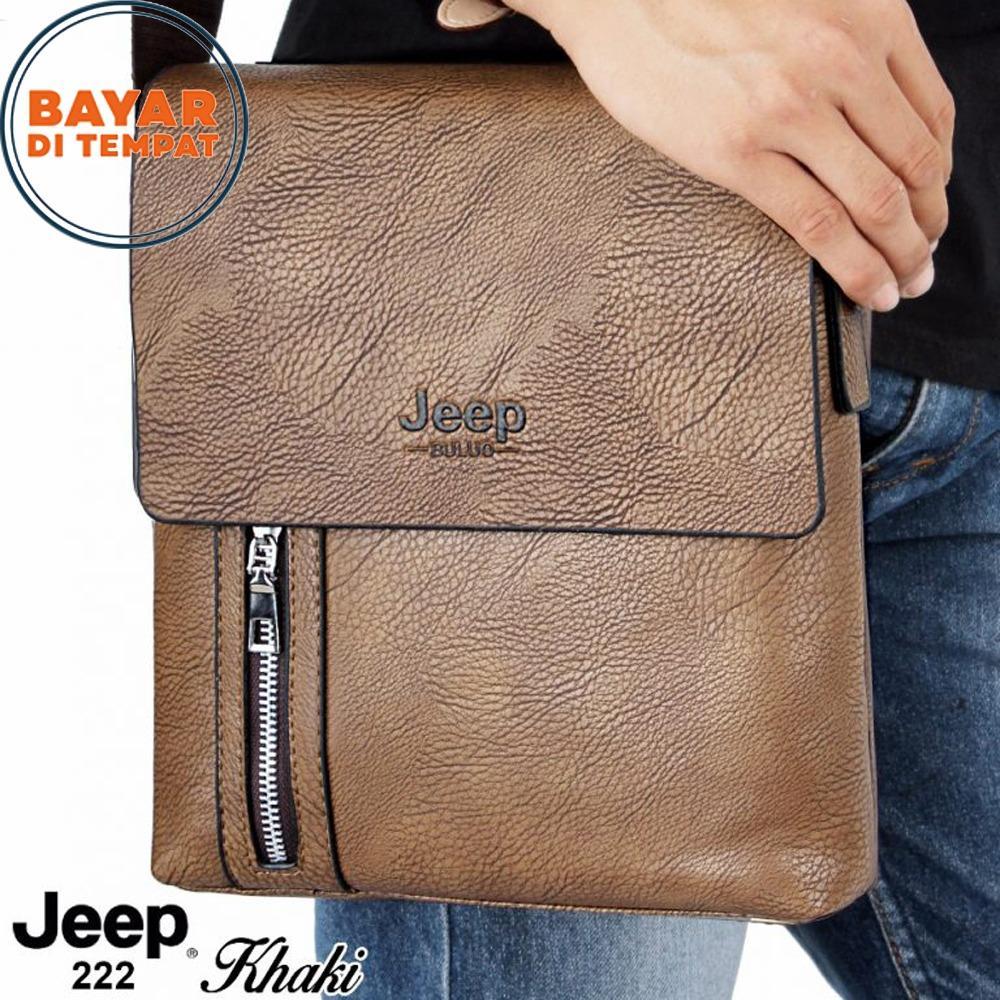 Jeep Tas Selempang Kulit Genuine Leather Kode Artikel JB222 Tas Kulit Tas Kerja Tas Selempang Kulit Asli Kualitas Premium - Khaki
