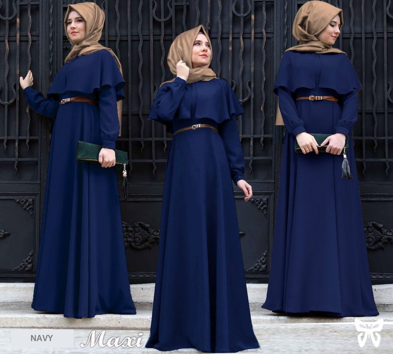 Flavia Store Maxi Dress Lengan Panjang Set 3 in 1 FS0622 - NAVY BIRU DONGKER / Gamis Syari / Gaun P