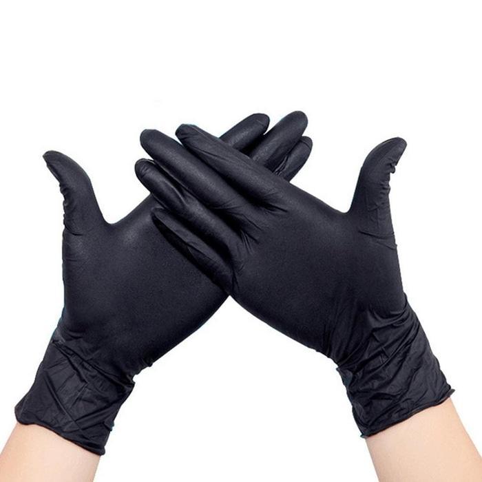 Terbaru!! Sarung Tangan Tatoo Kecantikan Hitam Black Nitrile 1 Box  - Size Xs - ready stock