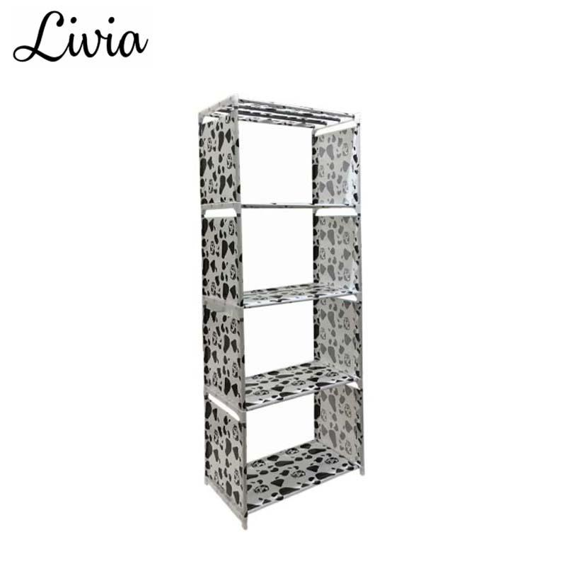 Livia Rak Buku 4 Susun - Rak Portable Serbaguna - Lemari Buku Portable