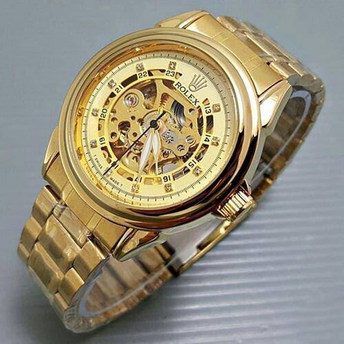 Flash Sale ...!!! Jam Tangan Pria / Cowok Rolex Rantai Skeleton Diamond Gold 16 / Jam Tangan Import / Jan Tangan Terlaris / Jam Tangan Hight Quality