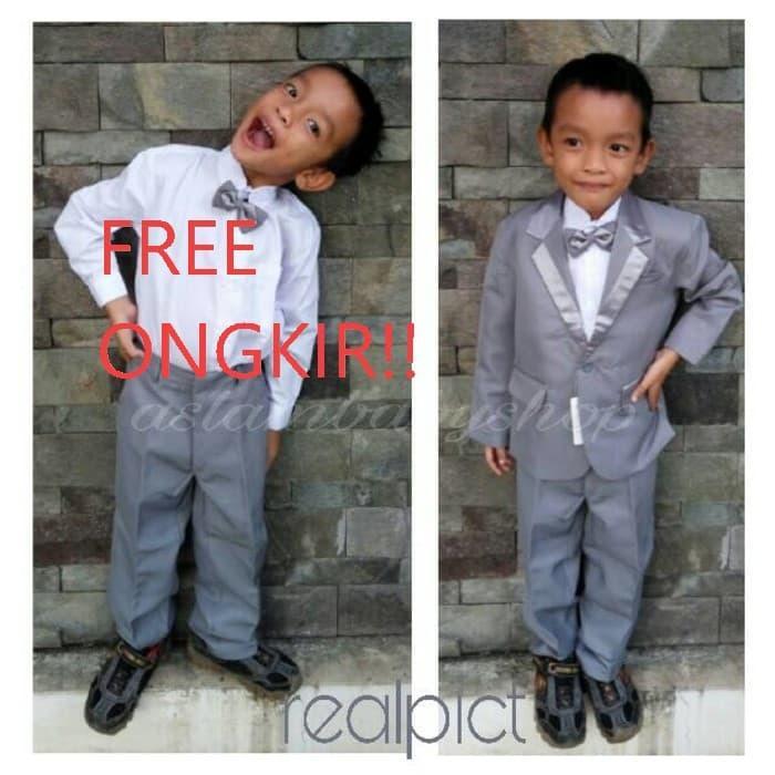 baju pesta anak laki-laki silver full/ tuxedo anak / setelan jas anak