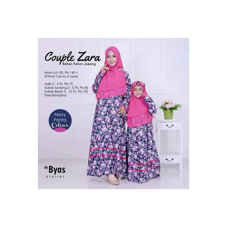 Baju Muslim Dress Gamis Ibu Dan 2 Anak Couple Zara