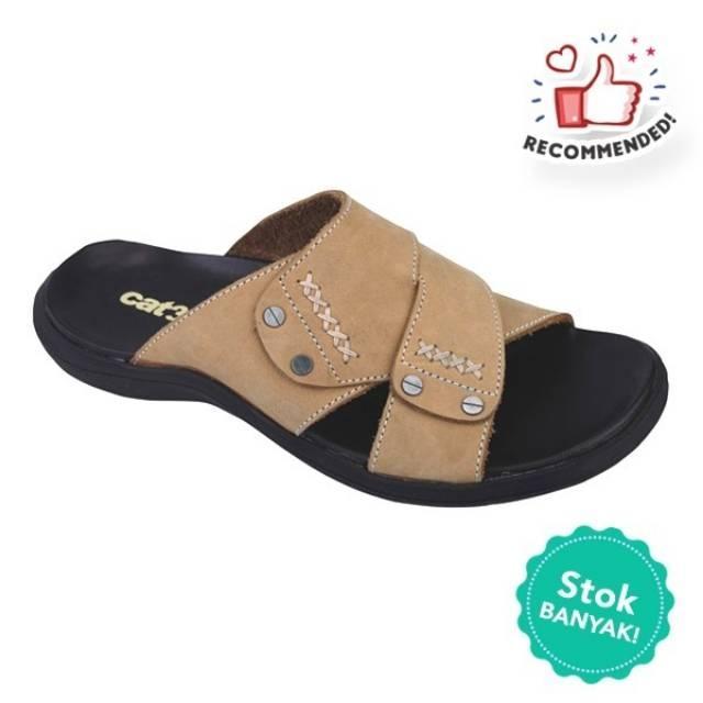 Promo Sandal Kulit Casual Pria Coklat Catenzo 137.KN 303 / Recommended! Fashion