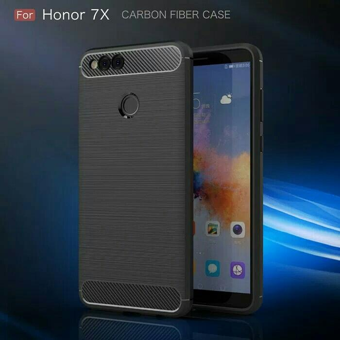 Best Seller - Fiber Line Case Huawei Honor 7 X 7X Spigen Like Soft Case Casing Hp Carbon - Casing Hp Terlaris Dan Terbaru