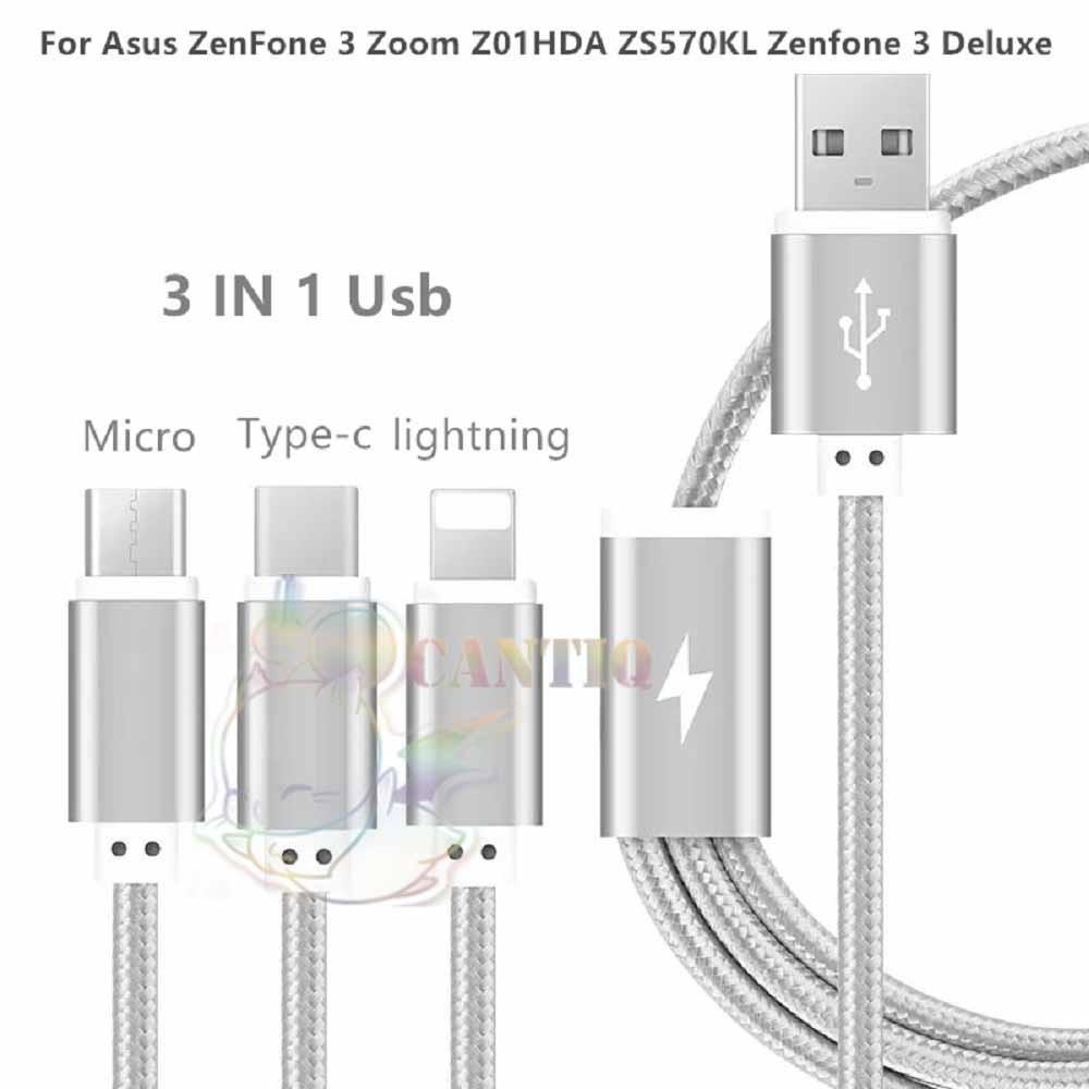 QCF Kabel Data 3in1 Cable 3in1 / Cable Data Lightning / Kabel Data Type C / Kabel Data Micro USB bisa buat charger dan transfer data Cable Data 3in1 - Grey