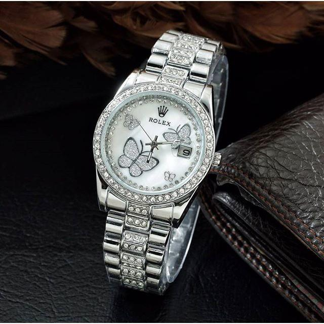 Jam Tangan Wanita / Cewek Murah Rolex Buterfly Rantai Silver